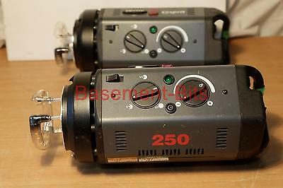 TWO (2) Bowens Esprit 250 flash / model modelling lamp heads - READ IN FULL