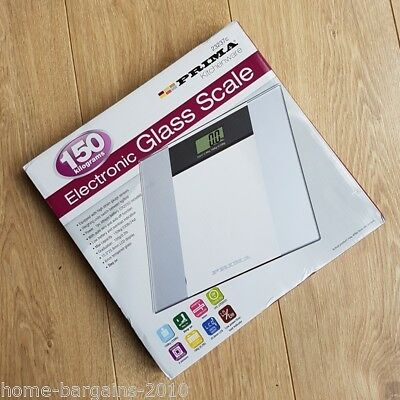 NEW – PRIMA Electronic Digital Glass Bathroom Weighing Scales 150kg / 24st/330lb