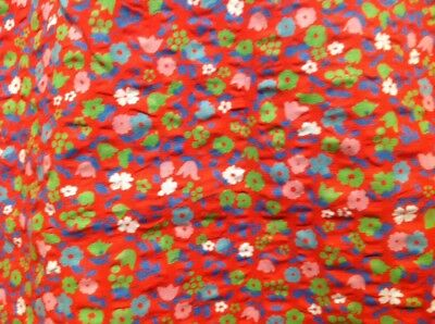 Retro Vintage Cotton Seersucker Fabric Green Blue Red Floral 90 Cm X 200 Cm