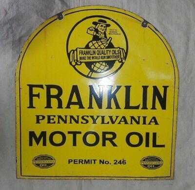 "Porcelain FRANKLIN PENNSYLVANIA  Sign SIZE 25"" X 27"" INCHES  2 SIDED"