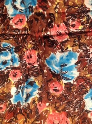 Retro Vintage Rayon Fabric Pink Turquoise Floral On Brown 82 Cm X 240 Cm