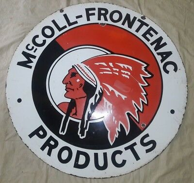 "Porcelain MC_COLL FRONTENAC PRODUCTS Sign SIZE 42"" ROUND DOUBLE SIDED"
