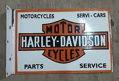 "Porcelain  HARLEY DAVIDSON Sign SIZE 19.5"" X 13"" INCHES  2 SIDED FLANGE"