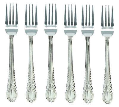6 x LARGE STAINLESS STEEL KING PATTERN DESIGN TABLE DINNER FORK CUTLERY SET NEW