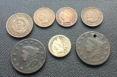 United States one cent coins,and 2 cent 1820-1901