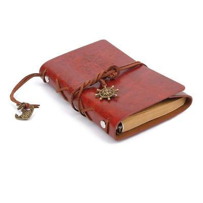 Retro Vintage Leather Bound Blank Page Notebook Note Notepad Journal Diary C ED