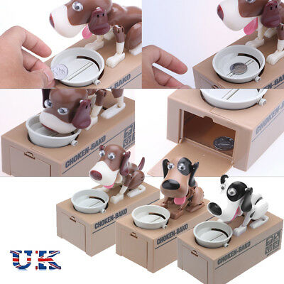 Cute Dog Steal Coin Piggy Bank Money Automated Robotic Saving Box Kids Toy Gift