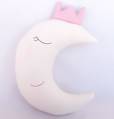 Magic, adorable white Half Moon with pale pink crown, Decorative Pillow