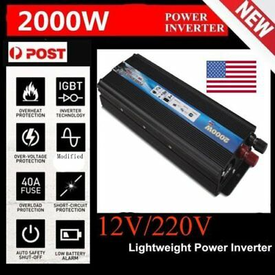 4000W Max 2000W Power Inverter Sine Wave DC 12V to AC 220V Converter Adapter