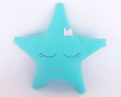 Adorable turquoise Star with pink lace bow, Decorative Pillow