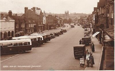 1937 Gb Sepia R.p. Postcard / Wilts / Marlborough Hight St / Buses / Animated