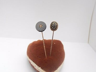 Two Nice Victorian Gold / Pearl Diamond Stick Pins