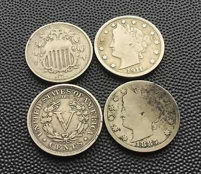 United States 5 cent coins 1868-1911