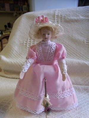 Dolls House  Doll - Lady In Pink Dress 15 Cm Tall