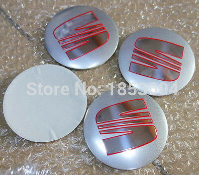 Seat 4Pcs 90mm wheel center stickers emblems decals badges universal all silver