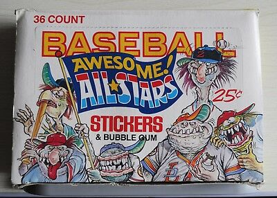 Vintage Rare Leaf Baseball Awesome All Stars Bubblegum Sticker Full Box 1988