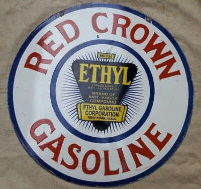 "Porcelain RED CROWN GASOLINE Sign SIZE 30"" ROUND DOUBLE SIDED"