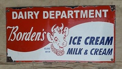 """Porcelain BORDEN'S DAIRY Sign SIZE 20"""" X 10""""  INCHES"""
