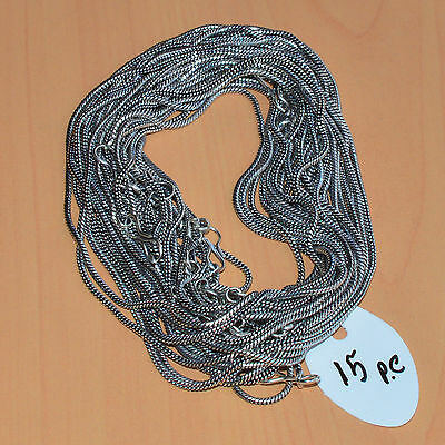 Wholesale 15Pc 925 Silver Plated Plain Gs Silver Chain Necklace Jewelry Lot L-19