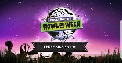Chessington World of Adventure Childs Kids FREE Entry Ticket October Half Term