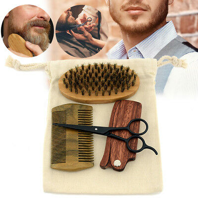 2/3/4Pcs Cerdas de jabalí Madera Natural Cepillo Barba Peine Tijeras Shaving Kit