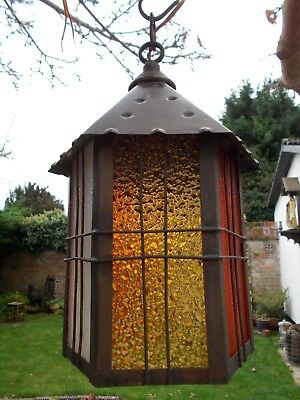 Vintage~Antique Copper Lantern With Coloured Glass~Porch~Light~Lamp