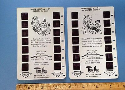 Howdy Doody TruVue Film Cards T-6 Mr. Bluster's Surprise & T-4 Howdy & Clarabell