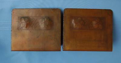 Vintage Pair of Beautiful Hand Hammered Copper Art Deco Bookends With Lillys
