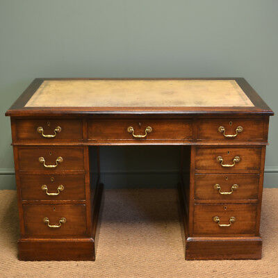 Edwardian Walnut Heals Of London Antique Pedestal Desk