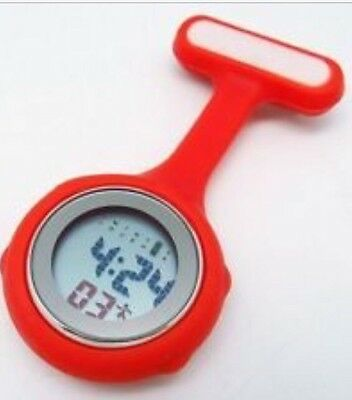 Red Digital Multi Function Silicone Nurses Brooch Fob Watch!