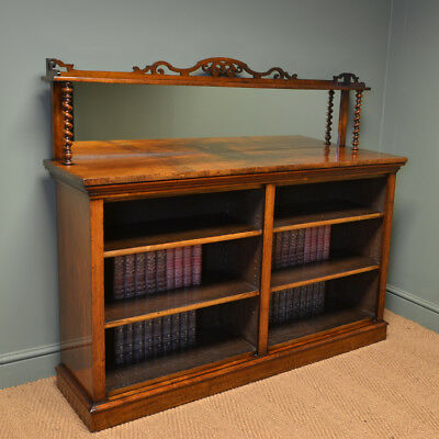 Magnificent Quality Figured Walnut Victorian Double Open Bookcase with Mirrored