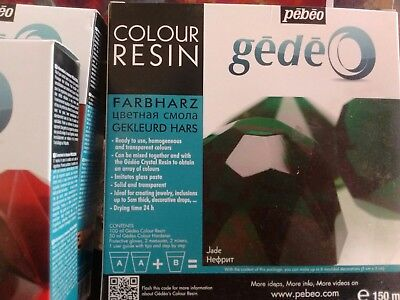PEBEO GEDEO JADE GREEN COLOUR RESIN & HARDENER 150ml KIT TRANSPARENT CRYSTAL