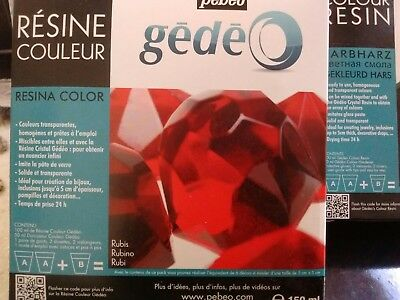 PEBEO GEDEO RUBY RED COLOUR RESIN & HARDENER 150ml KIT TRANSPARENT CRYSTAL