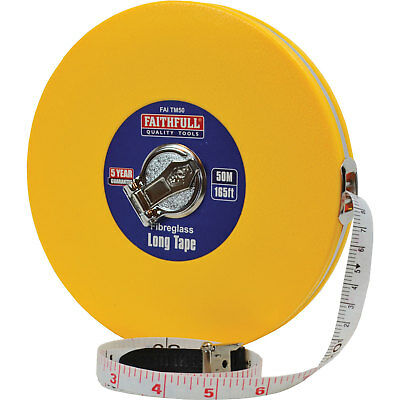 Faithfull Closed ABS Fibreglass Long Tape Measure Imperial & Metric 165ft / 50m
