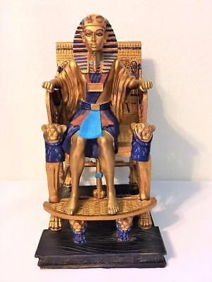 Egyptian Pharaoh King Tut Tutankhamen Sitting  On Throne Statue Figurine 12""