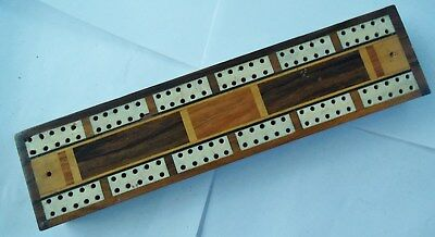 Fine Antique Cribbage Board, Inlaid with Bone and Fly Out Wing