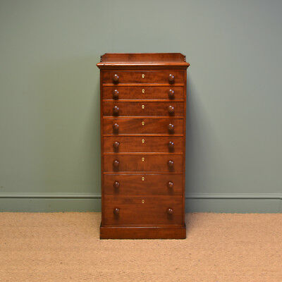 Magnificent Quality Wylie & Lochhead Figured Mahohany Antique Wellington Chest