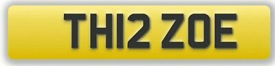 ZOE Cherished Private Number Plate Personalised Registration TH12 ZOE