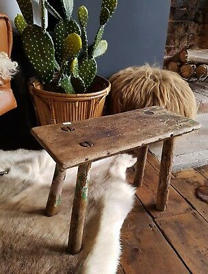 Vintage Wooden Milking Fireside Stool Industrial Side Table Cabin Chic Rough Lux