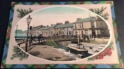 Vintage Grangemouth Postcard Canal Street Bridge Lock Basin Colour Posted 1911