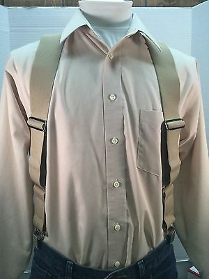 "New, Men's, Khaki, Large, 42"", Adj. Side Clip Suspenders / Braces, Made in USA"