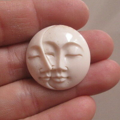 Double Moon Face Pendant in 25 mm Buffalo Bone Carving with Hole on Back Side 10