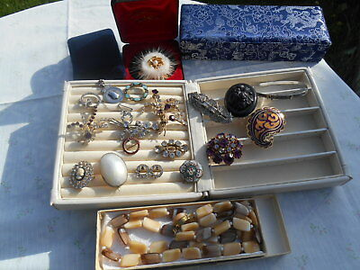 Antique/Vintage Costume Jewellery with  SILVER Lovely Varied Assorted Items BOX