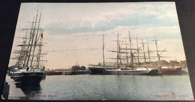 Vintage Postcard Bo'ness Dock with several sailing ships Colour posted 1914