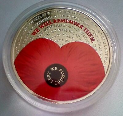 The 2017 Remembrance Five Pound Poppy Coin - Brilliant Uncirculated Condition