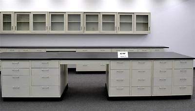 Gently used  26' Laboratory Island  Cabinets Group w/  Counter Tops