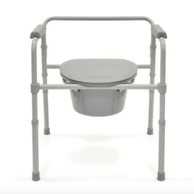 Bios Living Deluxe Commode Raised Toilet with Bucket and Lid in Grey Silver