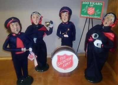 Byers Choice Ltd. The Carolers 4 Doll Lot Salvation Army 1992-1999 Sign & Drum