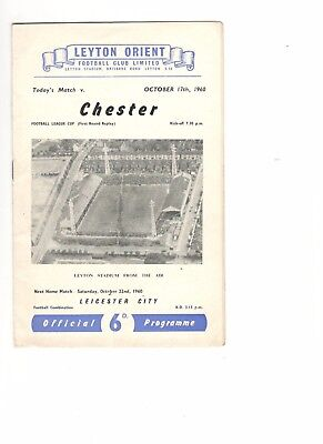Leyton Orient v Chester 1960 - 1961  League Cup 1st round replay