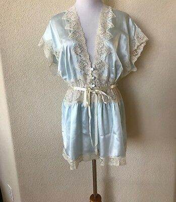 Vintage AMARETTA Blue Ivory SATIN Victorian Lace TEDDY Sexy LINGERIE L/XL USA
